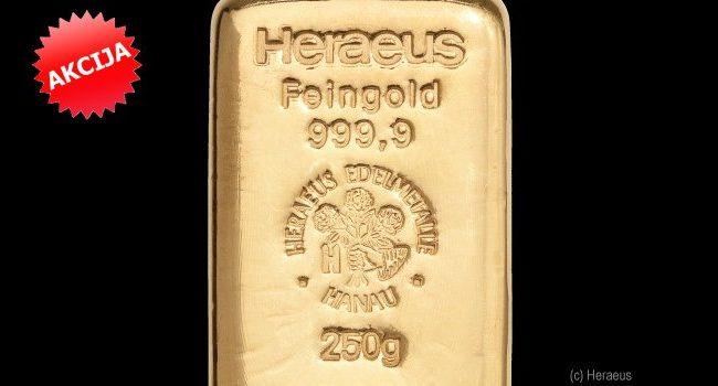 NOVA AKCIJA! Zlatna poluga 250 grama