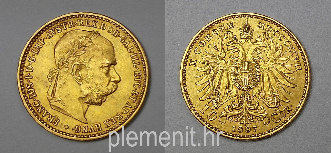 Zlatnik 10 coronae Franc Ios 1897