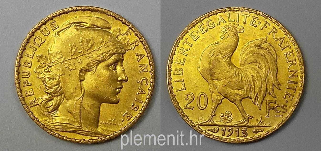 Zlatnik 20 franaka Marianne 1913