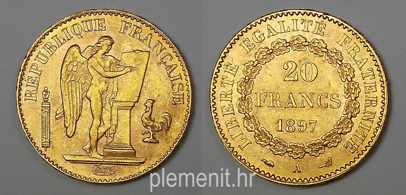 Zlatnik 20 franaka Anđeo 1897