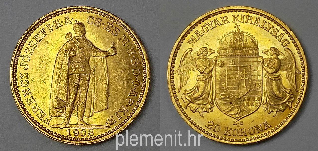 Zlatnik 20 korona Ferenc Jozsef 1908