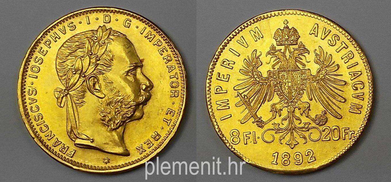 Zlatnik 8 fl 20 fr Franciscvs Iosephvs 1892 restrike