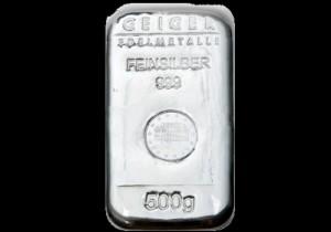 Srebrna poluga 500 grama, srebrne poluge od 500 grama, Geiger