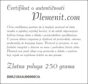 Certifikat o autentičnosti Plemenit