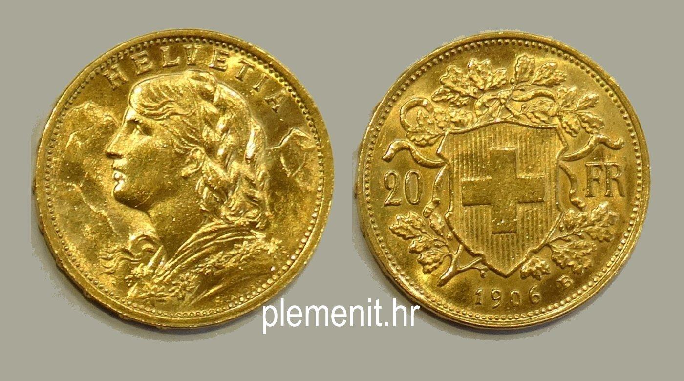 Zlatnik 20 franaka Vreneli Švicarska 1906