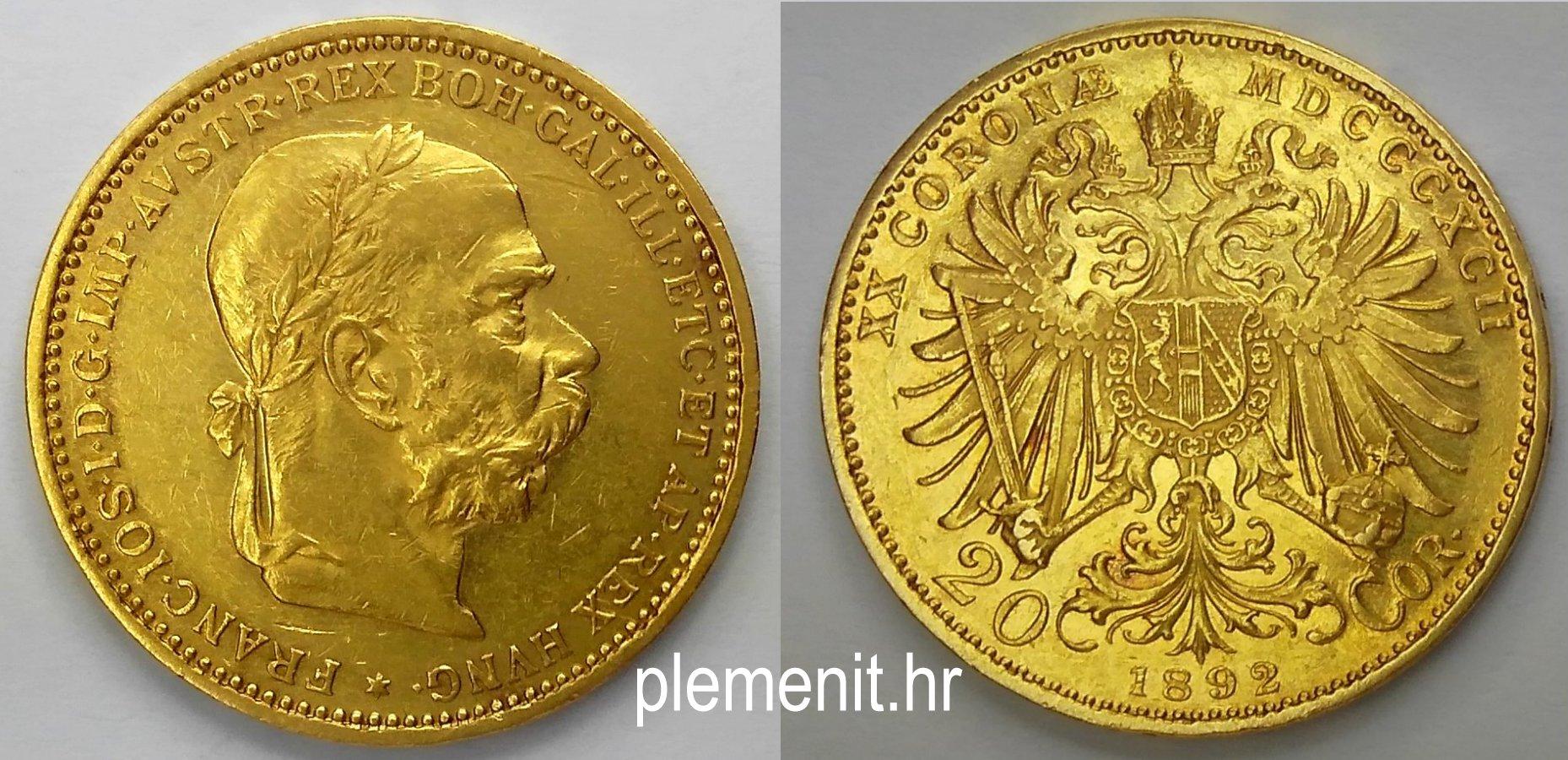Zlatnik 20 corona Franc Ios 1892