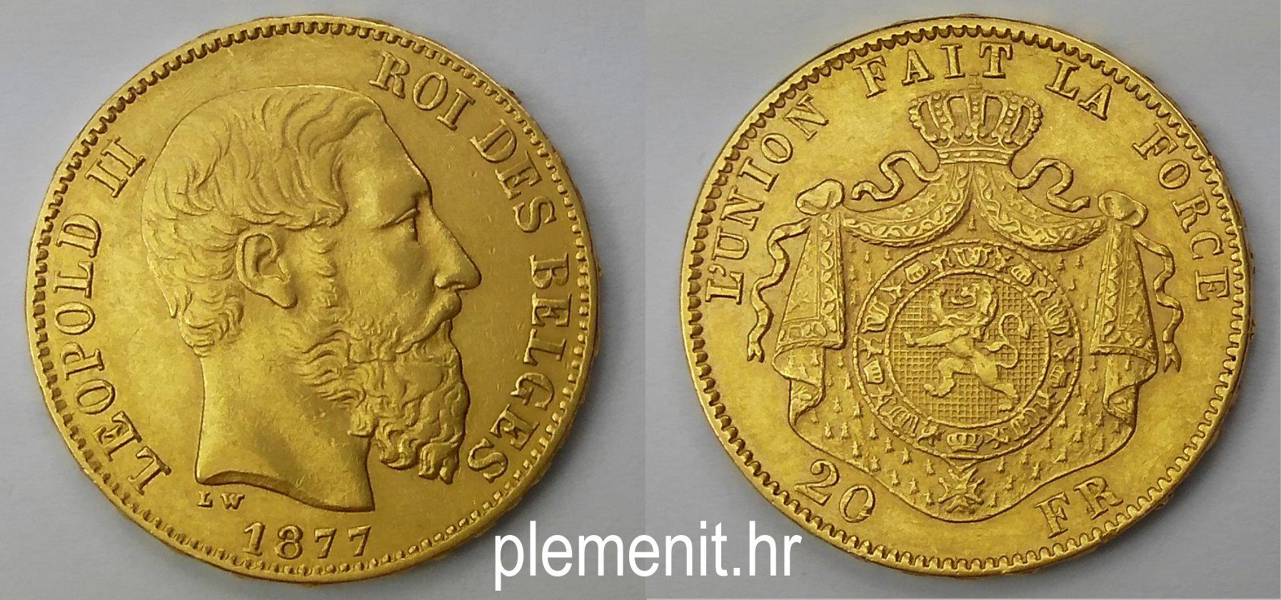 Zlatnik 20 belgijskih franaka Leopold II 1877, Belgija