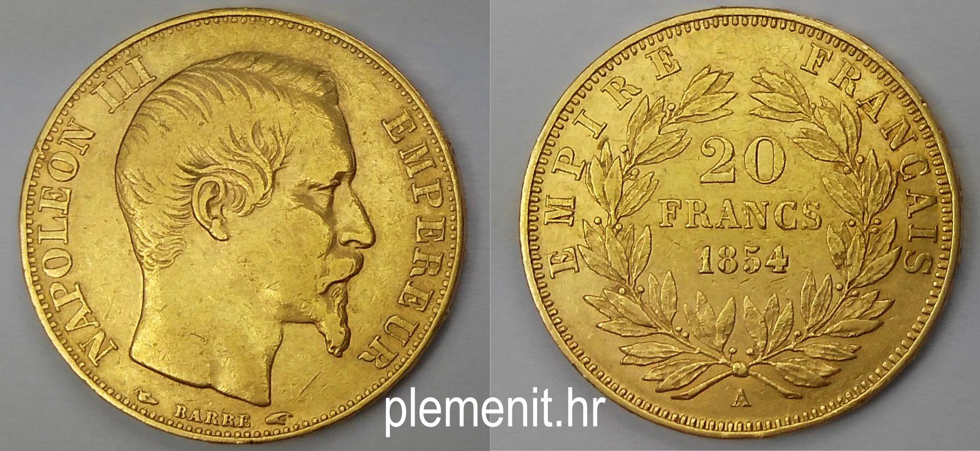 Zlatnik 20 franaka Napoleon III 1854 Francuska