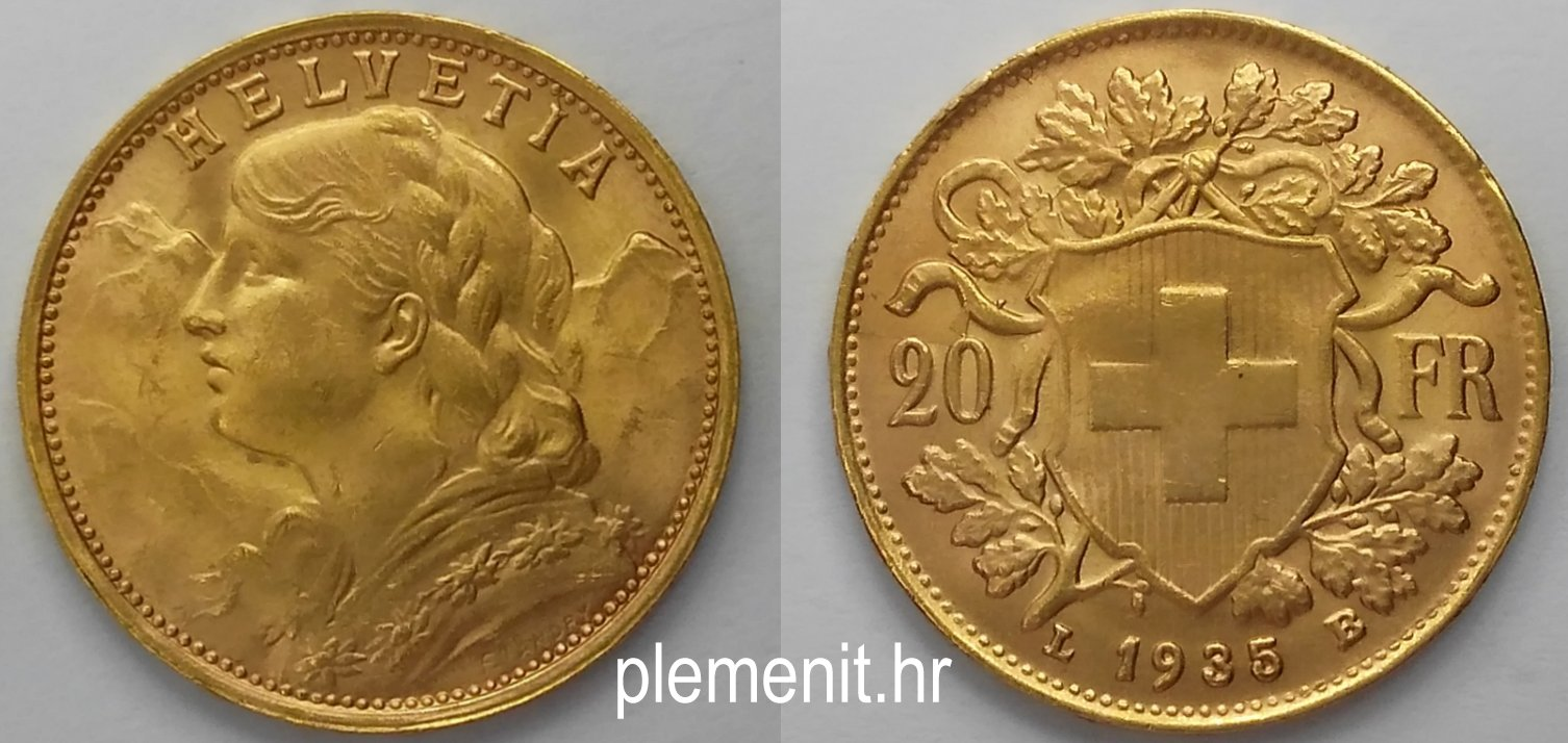 Zlatnik 20 svicarskih franaka Vreneli 1935