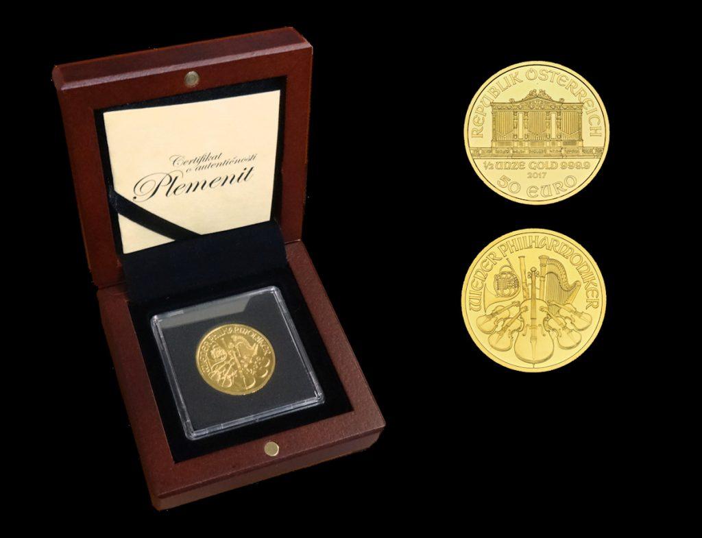 Zlatnik Wiener Philharmoniker od jedne polovine unce s kutijom