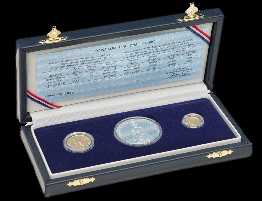 Komplet dva zlatnika i srebrnjak Sinjska alka