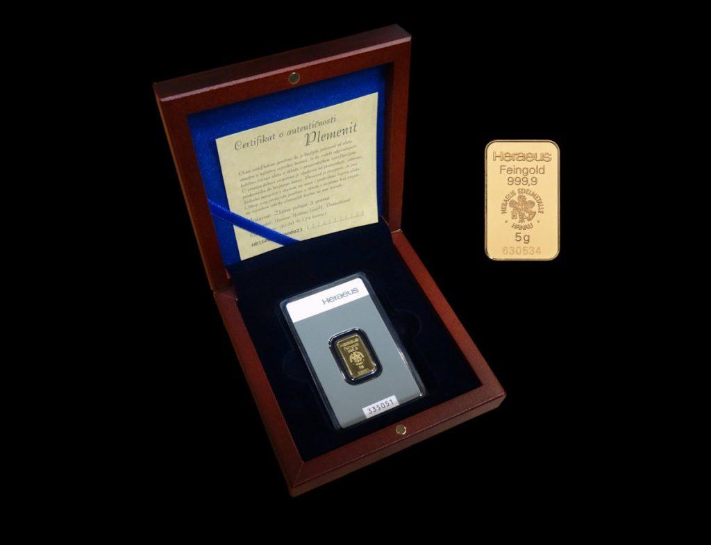 Zlatna poluga 5 grama s kutijom