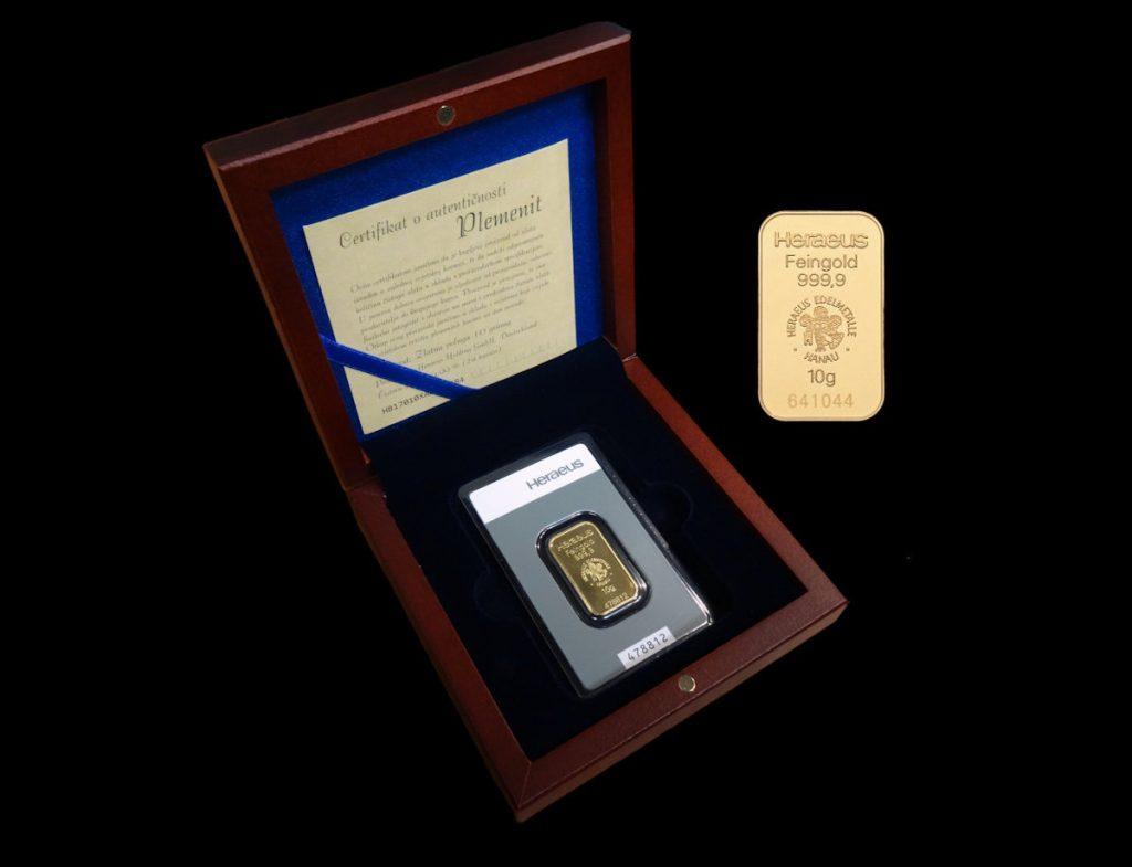 Zlatna poluga 10 grama u kutiji