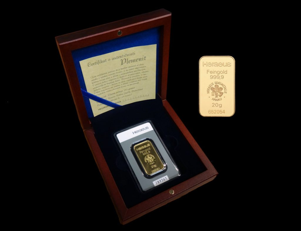 Zlatna poluga 20 grama u kutiji