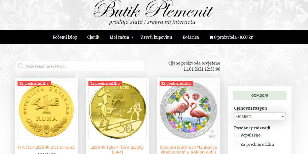 Butik Plemenit: internetska trgovina zlatom i srebrom