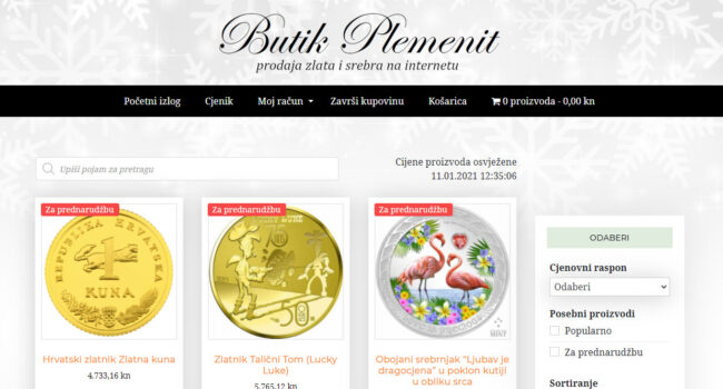 NOVO! Butik Plemenit: mrežna trgovina zlatom...