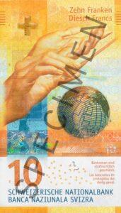 Stara novčanica 20 CHF (švicarskih franaka), prednja strana