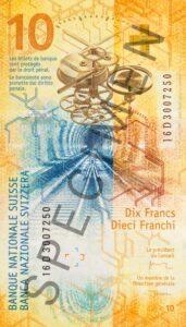 Stara novčanica 20 CHF (švicarskih franaka), stražnja strana