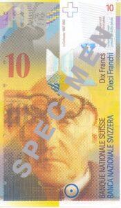 Stara novčanica 10 CHF (švicarskih franaka), prednja strana