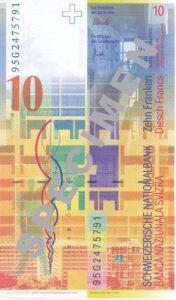 Stara novčanica 10 CHF (švicarskih franaka), stražnja strana