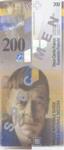 Stara novčanica 200 CHF švicarskih franaka