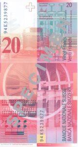 Stara novčanica 20 CHF švicarskih franaka