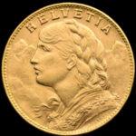 Povijesni zlatnik 20 švicarskih franaka Vreneli